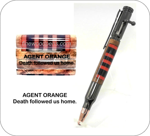 Agent Orange ribbon Bolt Action pen - Fine Wood Pens