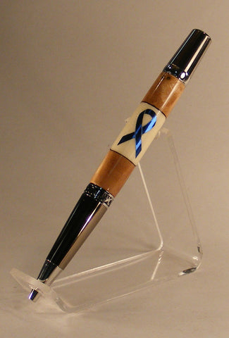 Elegant Blue Ribbon Inlay Twist Pen - Fine Wood Pens