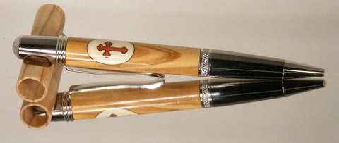 Olive Wood with Holly and Bloodwood Cross Inlay twist pen - Fine Wood Pens