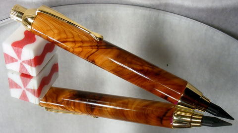 Artist Pencil in Madrone wood and gold fittings. - Fine Wood Pens