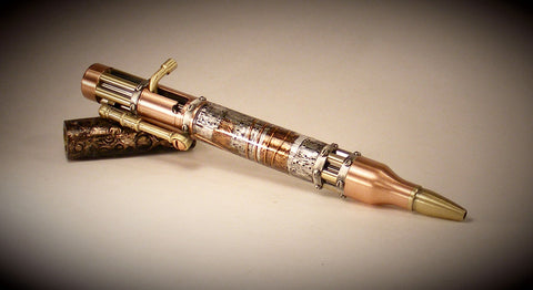 Steampunk Bolt Action Ballpoint Pen - Fine Wood Pens