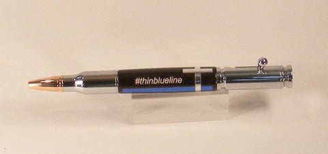 Thin Blue Line Bolt Action Pen - Fine Wood Pens