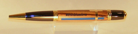 Thin Blue Line Twist Pen in Olive Wood - Fine Wood Pens