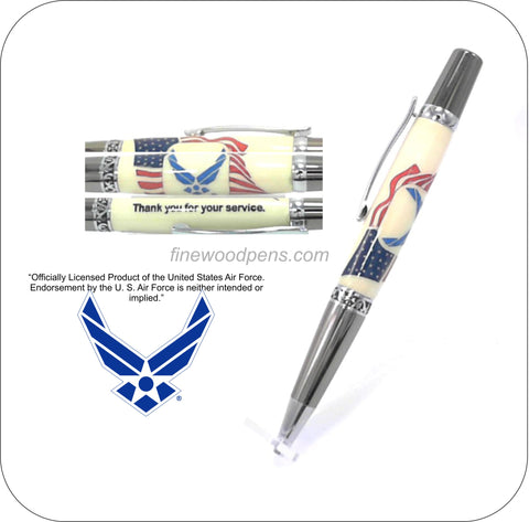 U.S. Air Force logo inlaid into American Flag background ballpoint pen - Fine Wood Pens