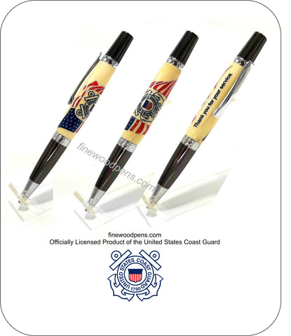 U.S. Coast Guard Emblem inlaid into American Flag background ballpoint pen - Fine Wood Pens