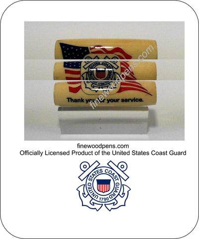 United States Coast Guard logo with American Flag background pen blank - Fine Wood Pens
