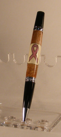 Pink Ribbon Breast Cancer Awareness Twist Pen - Fine Wood Pens
