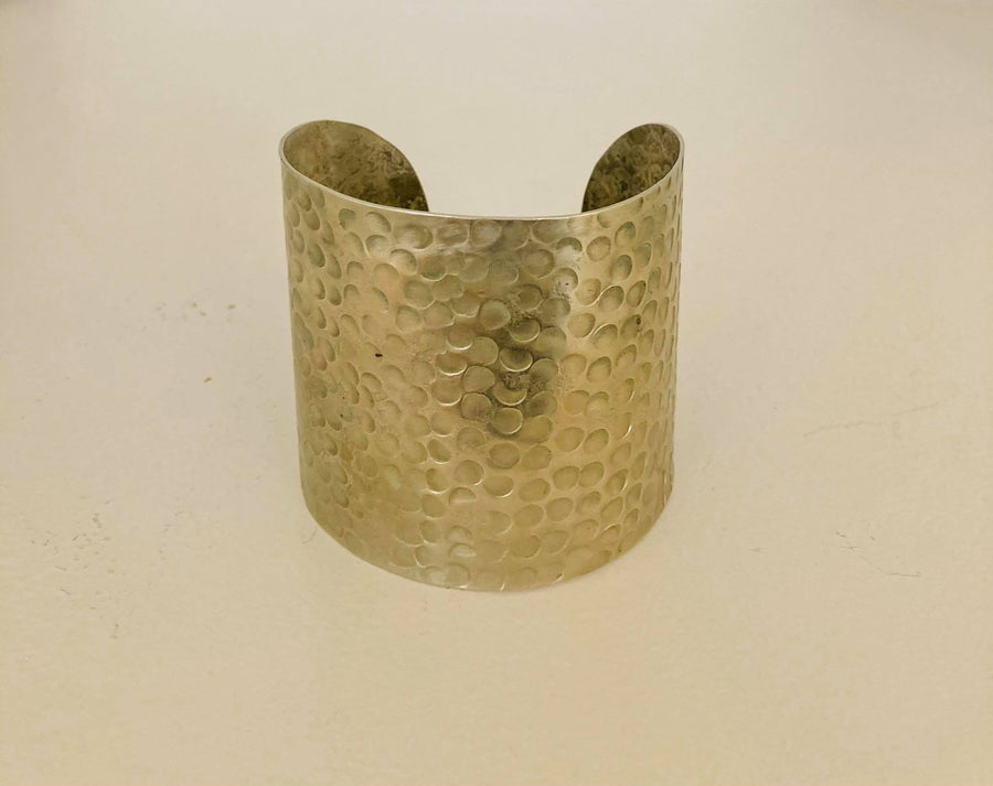 Hammered bracelet silver big