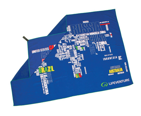World map large lightweight quick drying travel towel