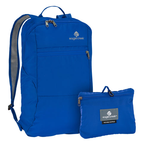 Blue day backpack packable into small bag