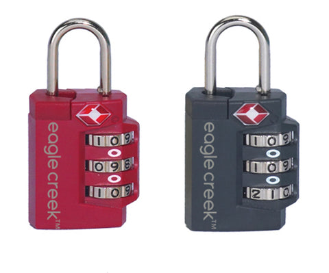 Red three dial number combination padlock