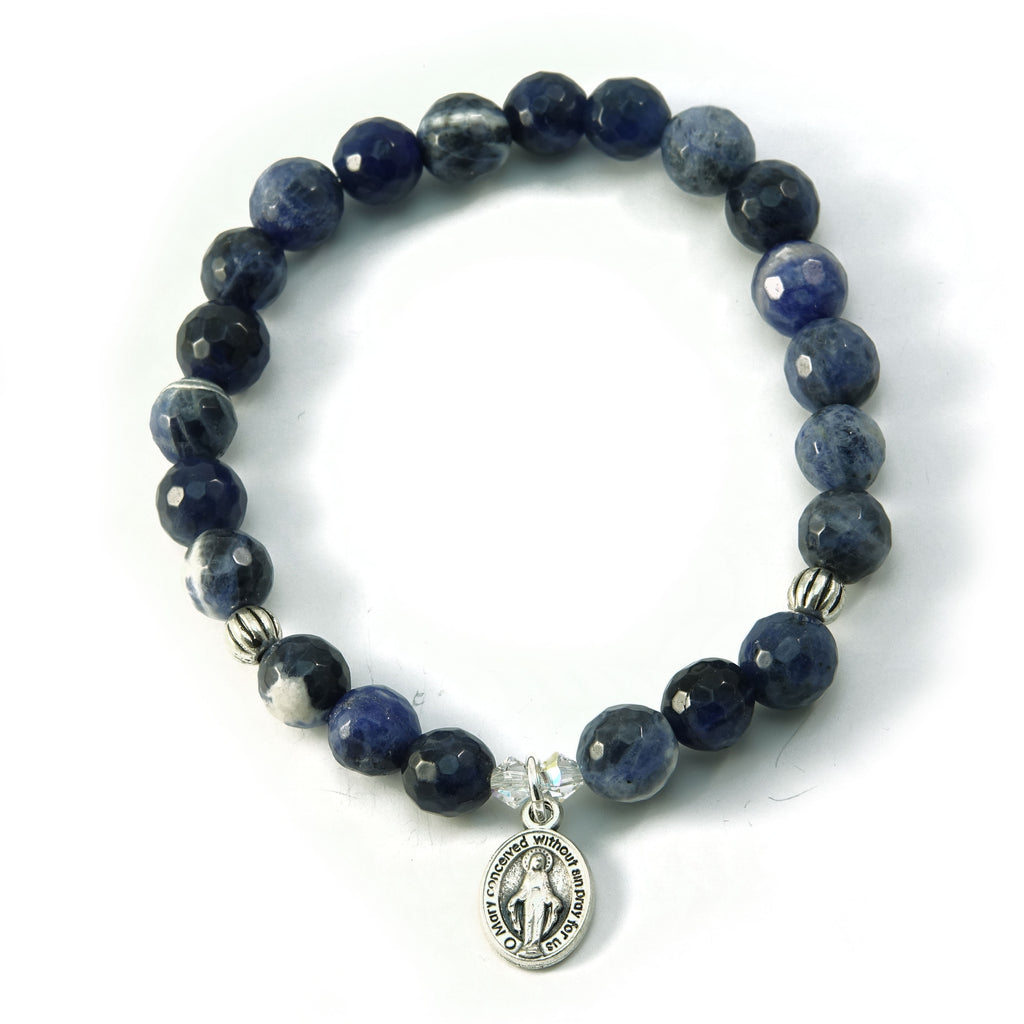 Christian Bracelet Our Lady Sodalite Gemstone Swarovski Stretch Bracelet 6.5