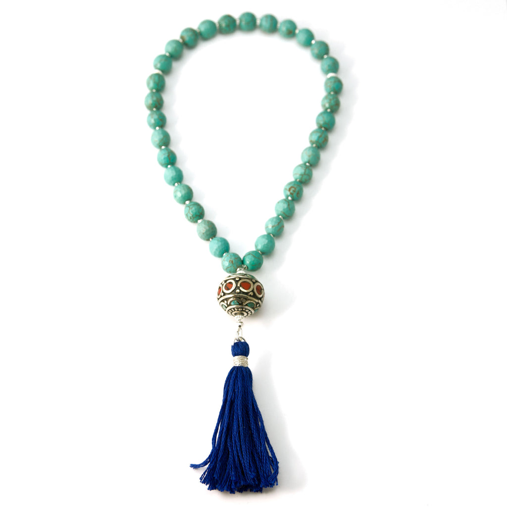 33 Magnesite Muslim Prayer Beads with Nepalese Bead and Blue Tassel