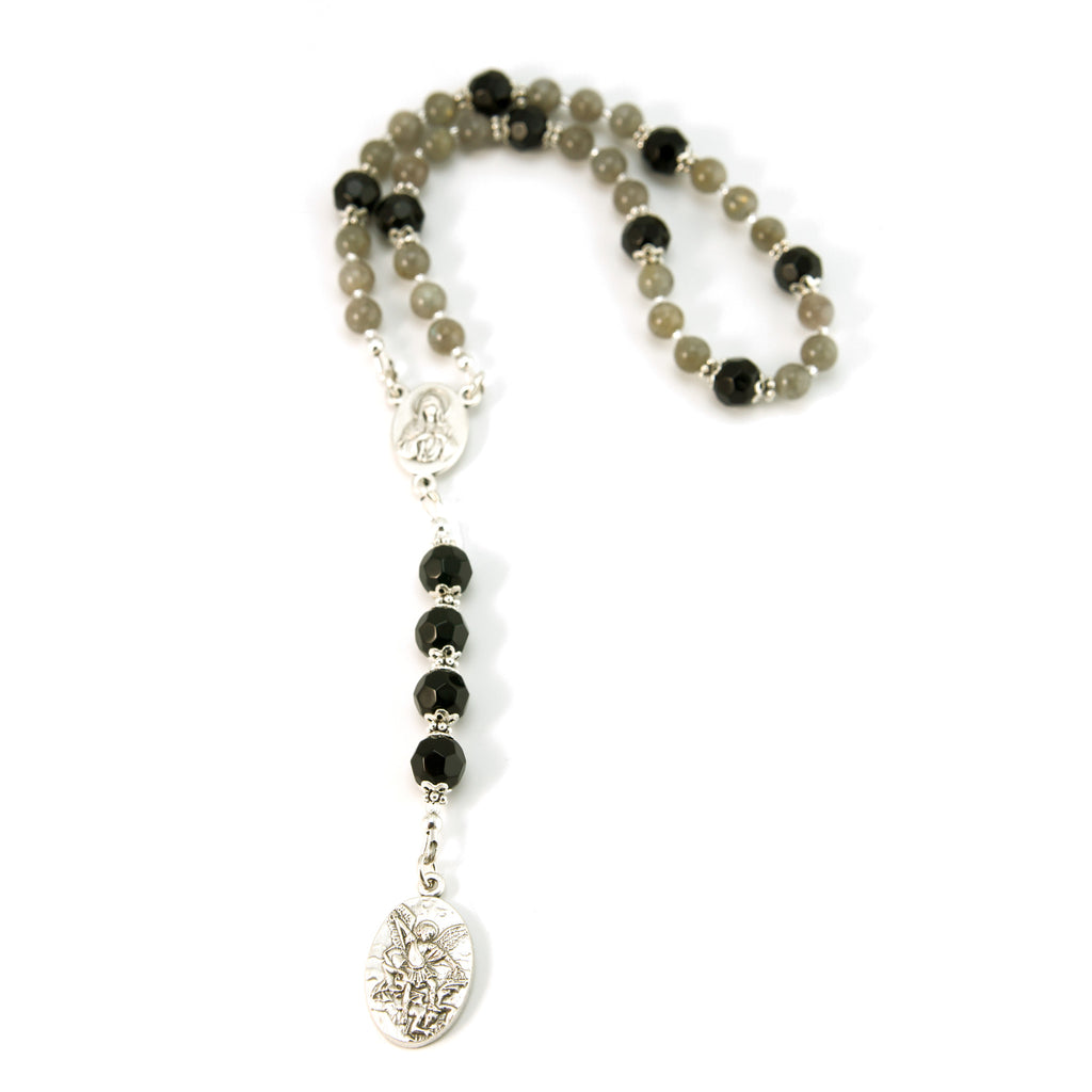 St Michael Chaplet Labradorite Natural Gemstone with Onyx Beads