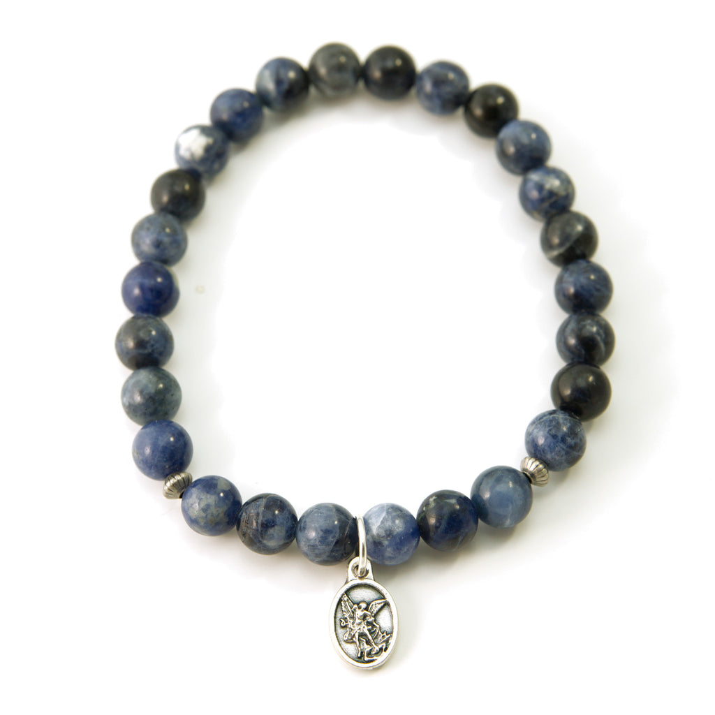 Men Saint Michael Protector Sodalite Natural 7 3/4