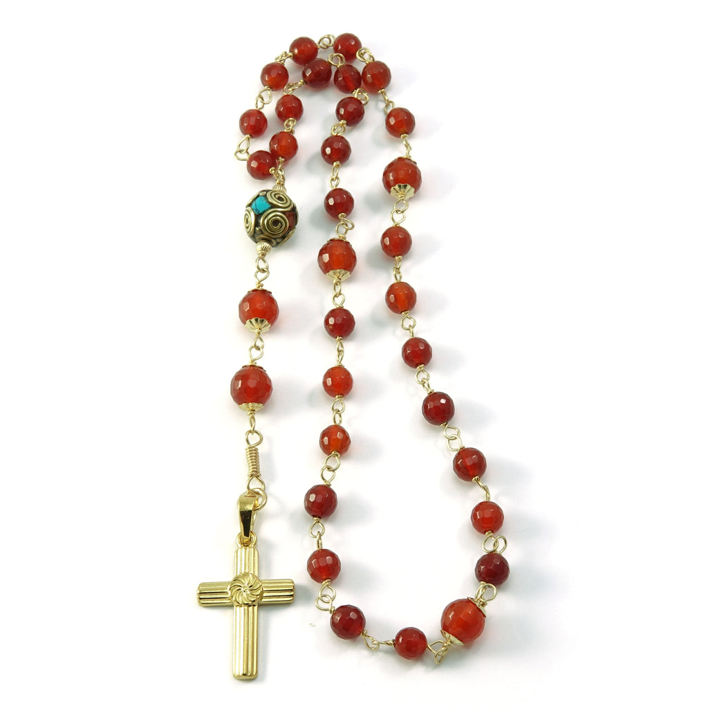 Carnelian Gemstone Anglican Christian Prayer Beads Wired with Gold Filled Beads
