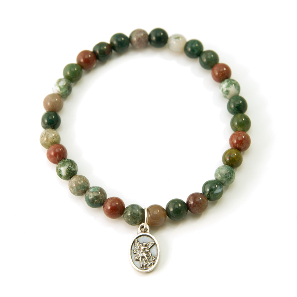 Saint Michael Protector Fancy Jasper Natural Stretch Bracelet 6.5