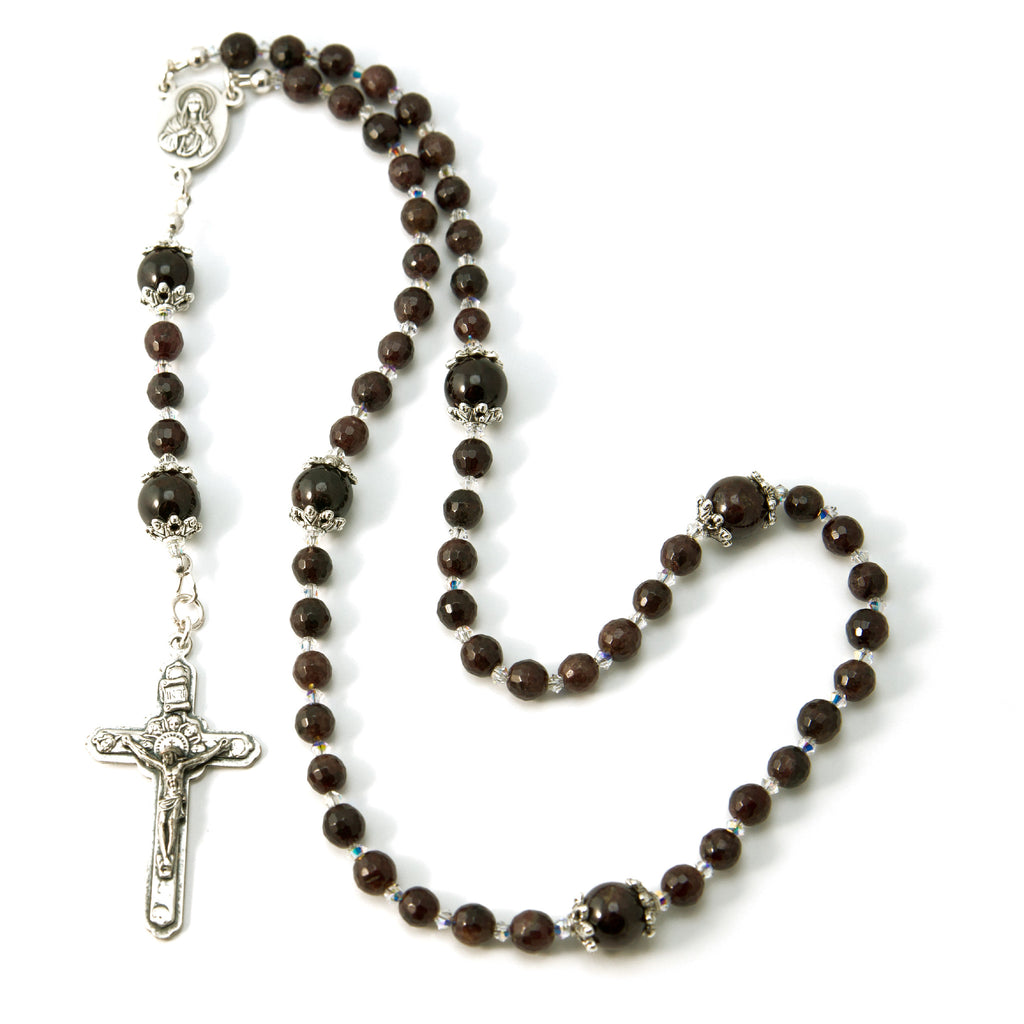 Catholic Garnet Natural Gemstone Swarovski Rosary