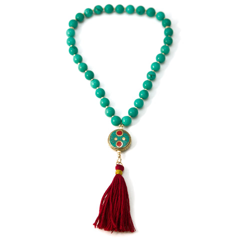 33 Turquoise (imit) Muslim Prayer Beads with Round Nepalese Bead and Gold Filled Beads