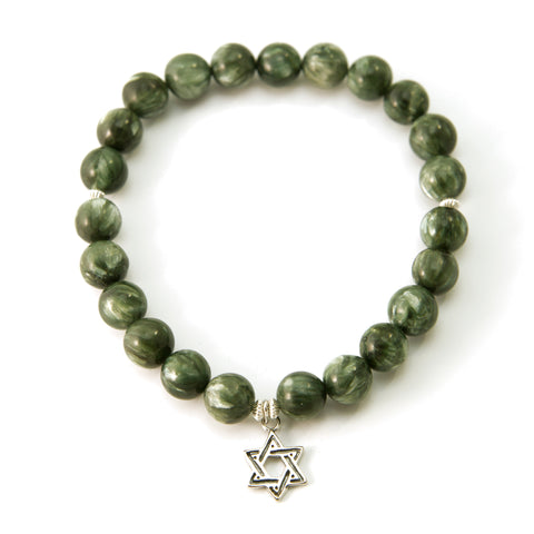 Star of David Seraphinite Natural Gemstone Stretch Bracelet 6.5