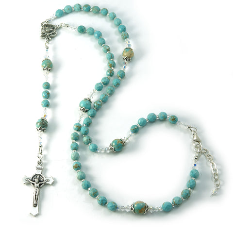 Catholic Rosary Beads Saint Benedict Necklace Howlite Gemstone Swarovski 17