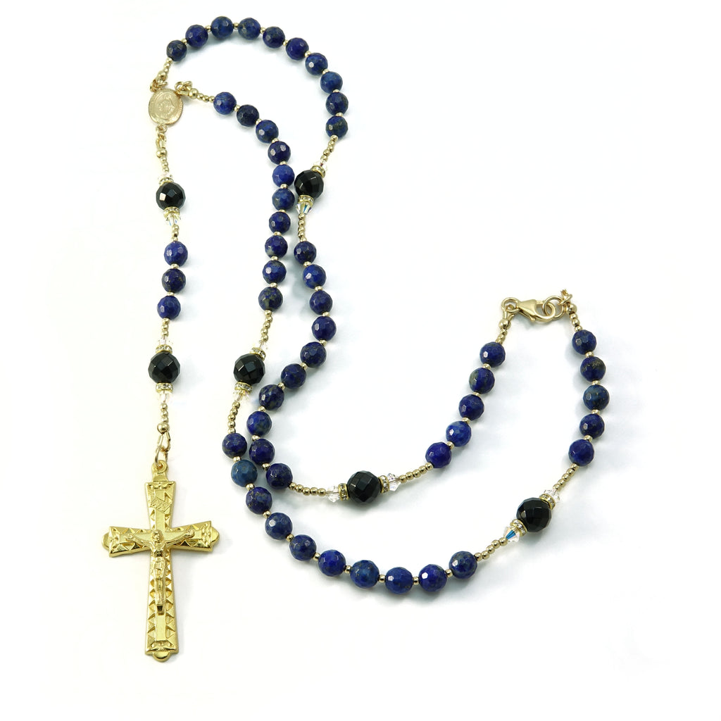 Catholic Lapis Onyx Gemstone Swarovski Rosary Beads Necklace with Gold Filled Beads and Rosary Center 18