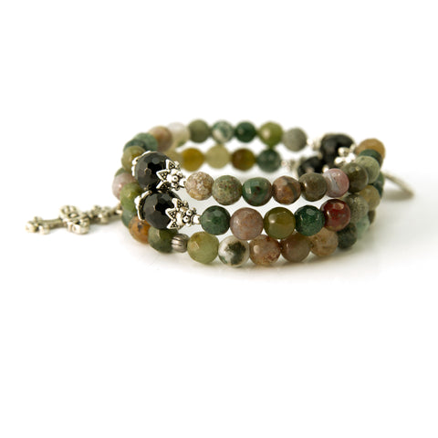 Fancy Jasper and Onyx Faceted Memory Wire Rosary Bracelet