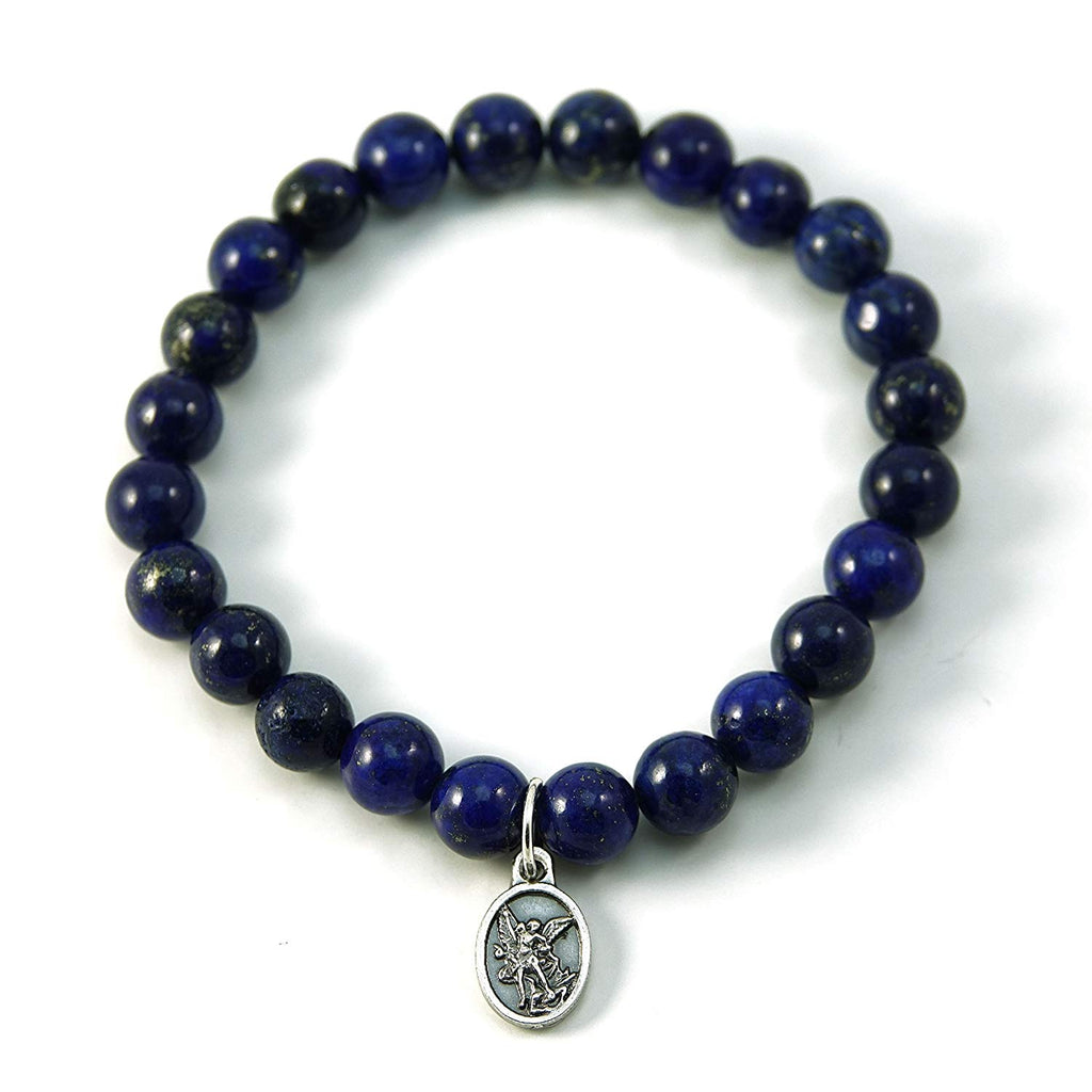 Silver Inches Christian Bracelet Saint Michael Lapis Gemstone Stretch Bracelet 7