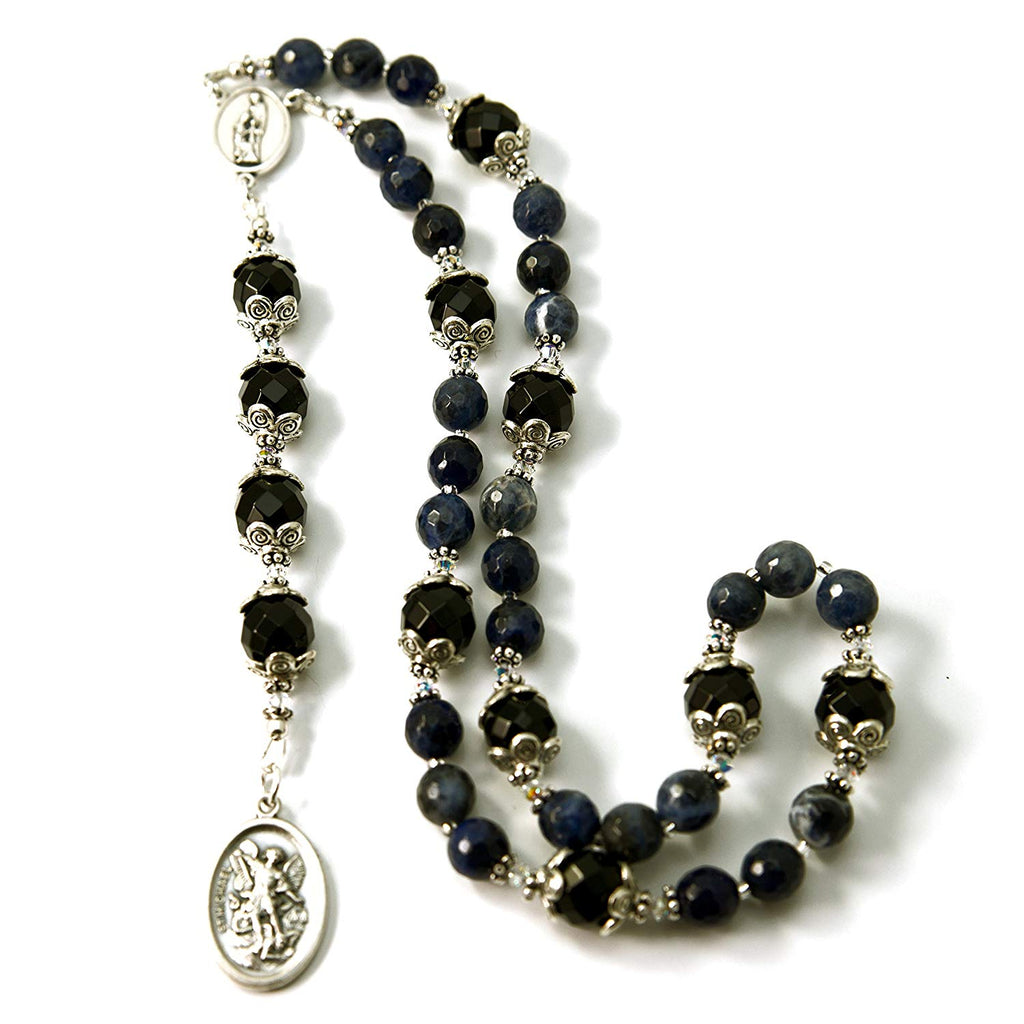Silver Inches Catholic Prayer Beads Saint Michael Guardian Angel Chaplet Sodalite Gemstone with Swarovski Beads