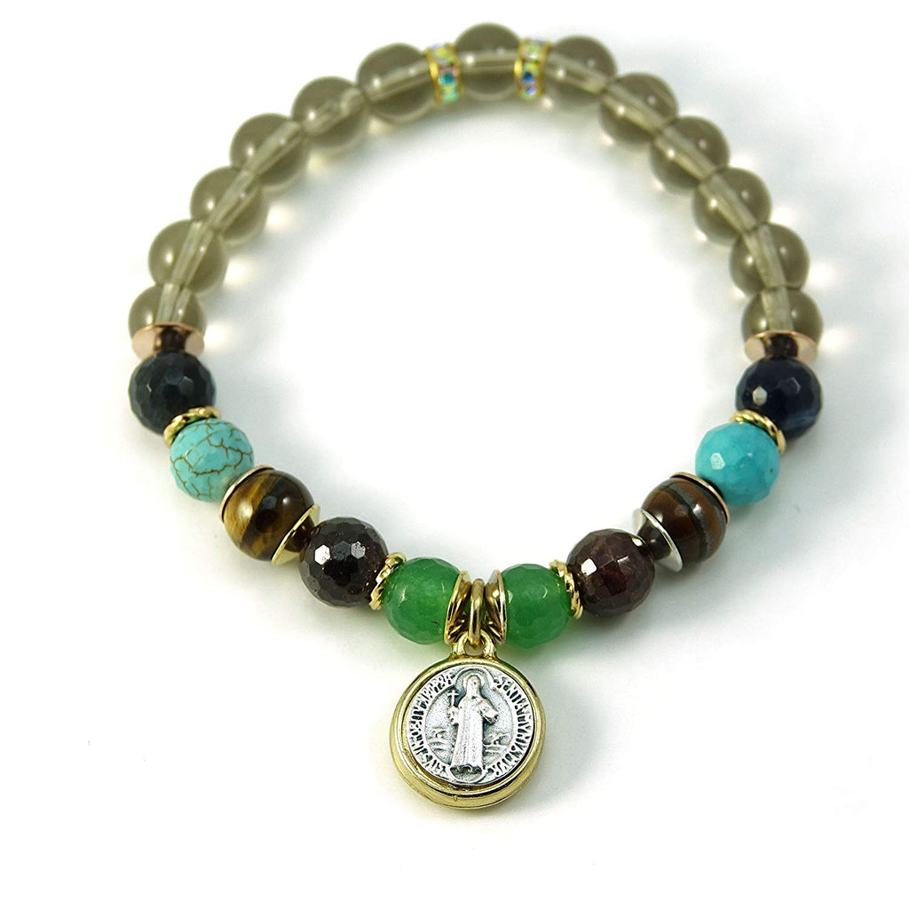 Silver Inches Christian Bracelet Like a River St Benedict Medal Turquoise Gemstone Stretch Bracelet 6.5""