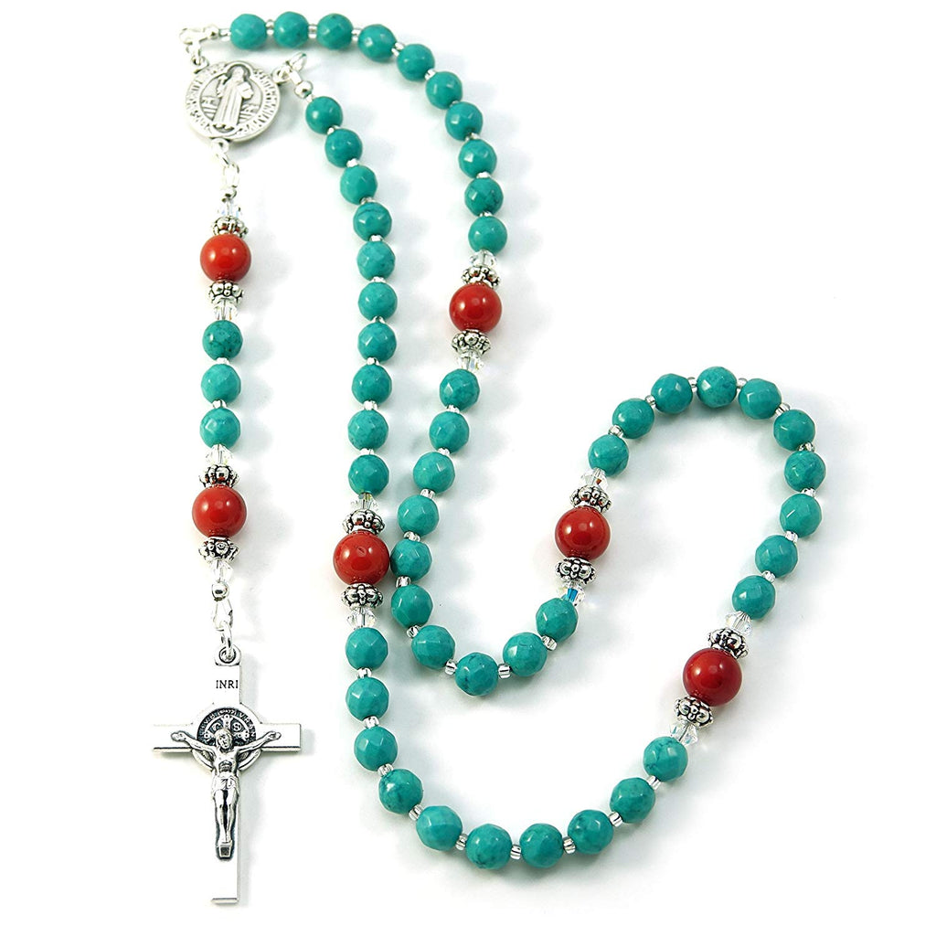 Silver Inches Catholic Prayer Beads Turquoise Coral Saint Benedict Catholic Rosary with Swarovski Beads