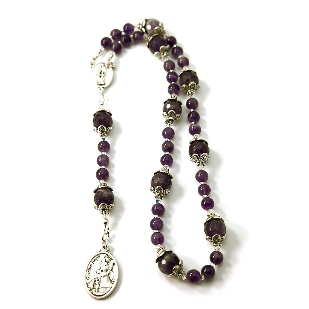 Silver Inches Catholic Prayer Beads Guardian Angel Holy Family Chaplet Amethyst Gemstone with Swarovski Beads