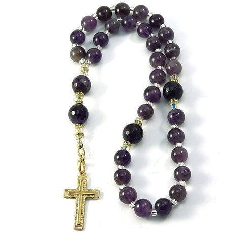 Silver Inches Christian Amethyst Gemstone Anglican 33 Prayer Beads with Swarovski Beads