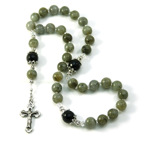 Christian Orthodox 33 Prayer Beads Komboskini Chotki Labradorite Gemstone with Made in Holy Land Crucifix