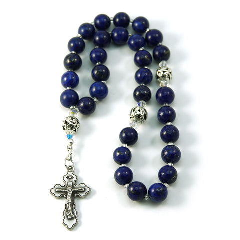 Christian Orthodox Prayer Beads Komboskini Chotki Lapis Gemstone with Made in Holy Land Crucifix