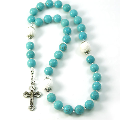 Christian Orthodox 33 Prayer Beads Komboskini Chotki Howlite Gemstone with Made in Holy Land Crucifix