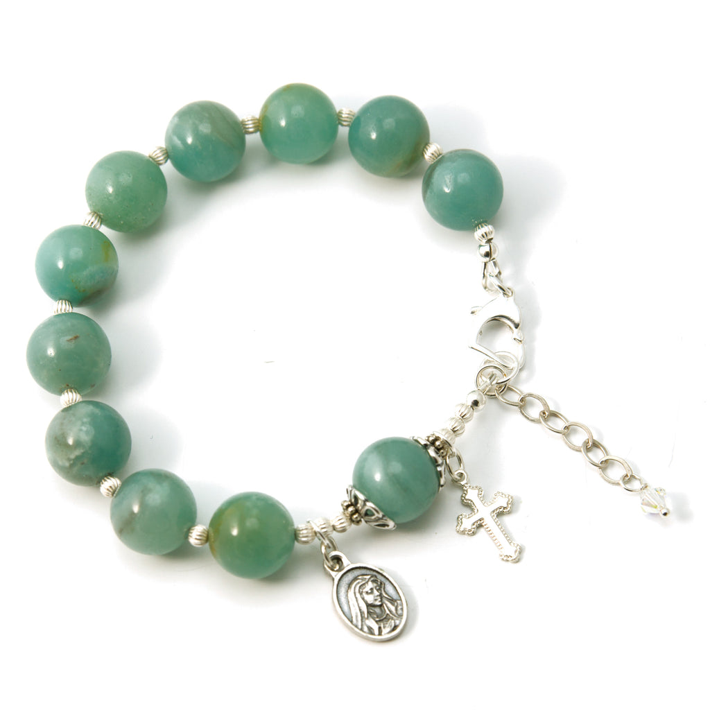 Sorrowful Mary 12mm Amazonite Gemstone Sterling Silver 7
