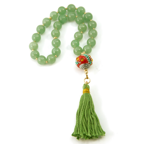 27 Aventurine Mala Prayer Beads with Gold Filled Beads and Round Nepalese Bead