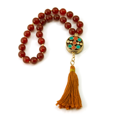27 Carnelian Mala Prayer Beads with Gold Filled Beads and Round Nepalese Bead
