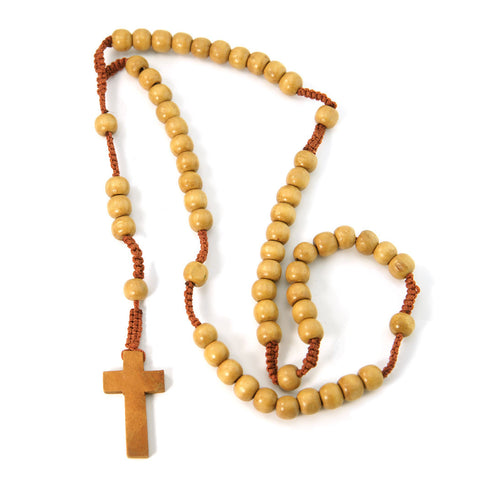 Dark Color Wood Macrame Rosary