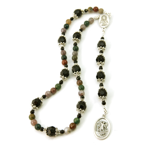 St Michael Chaplet Fancy Jasper Natural Gemstone with Swarovski Beads