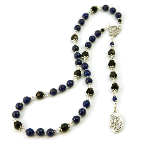 St Michael Chaplet Lapis Natural Gemstone with Swarovski Beads