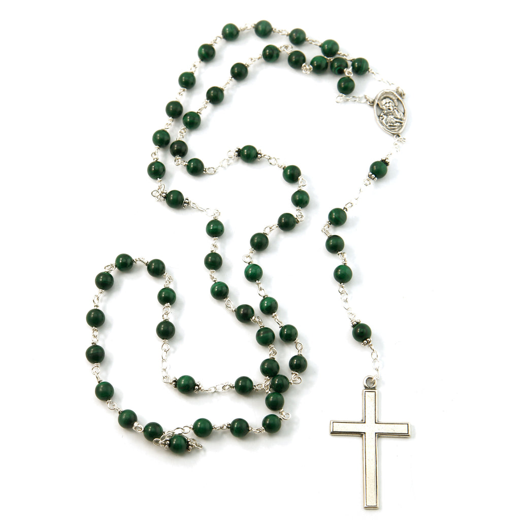 Sterling Silver 6mm Natural Malachite Rosary with Sterling Silver Crucifix