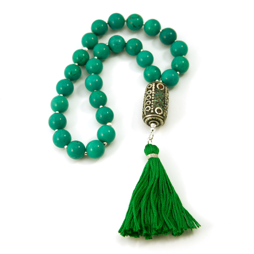 27 Turquoise (Imit) Mala Prayer Beads with Nepalese Bead and Sterling Silver Beads