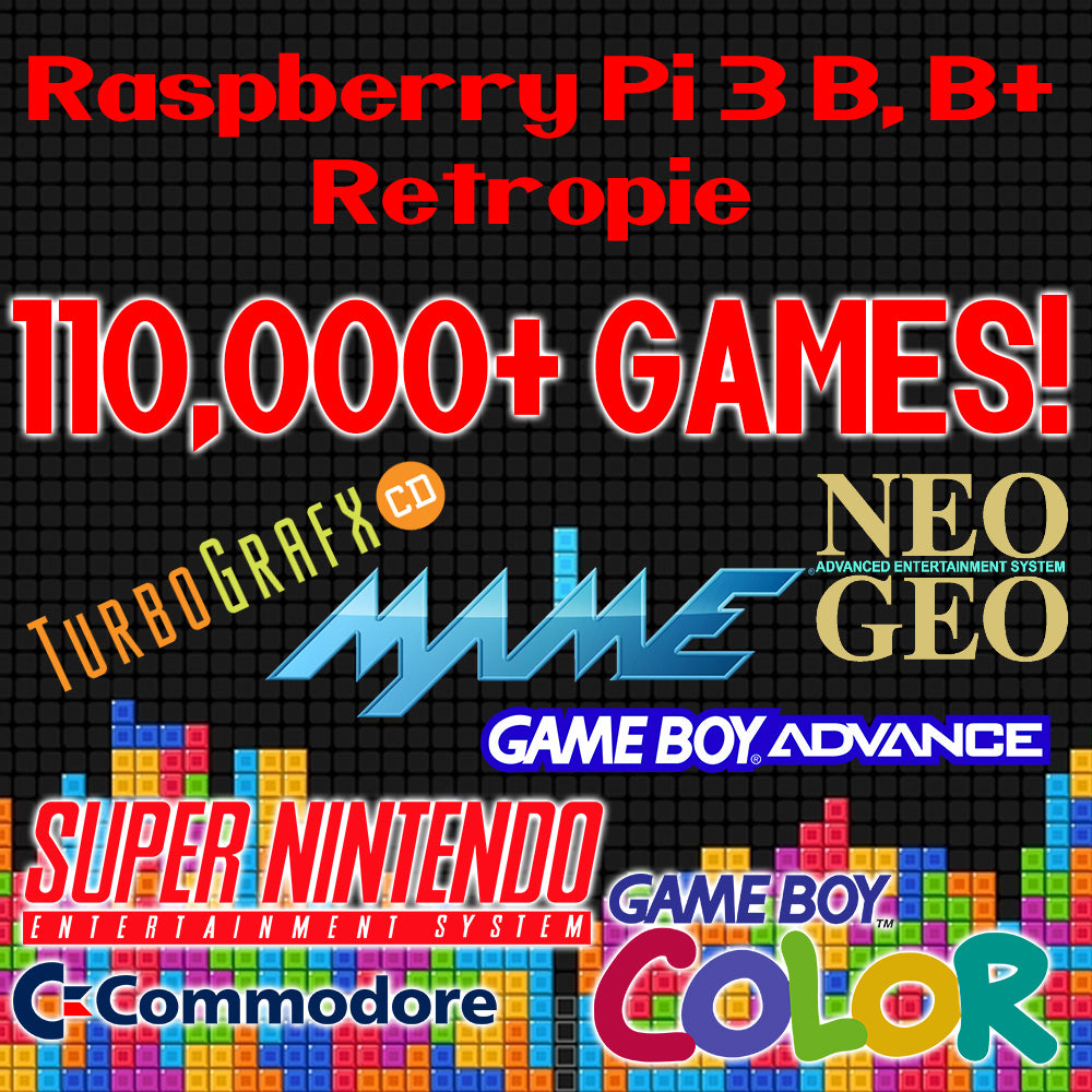 110,000+ Games For Raspberry Pi 3 B & B+ on 128GB MicroSD Card