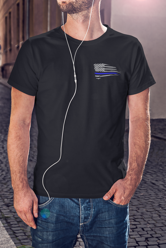Thin Blue Line Flag LEO T-shirt - Ink That Apparel