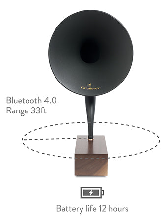 Bluetooth Gramophone 2.0 – Vintage Wireless Speaker, iPhone/Android Compatible | Feature – Maximum-Range, 33-ft-Range, 12-hr-Battery
