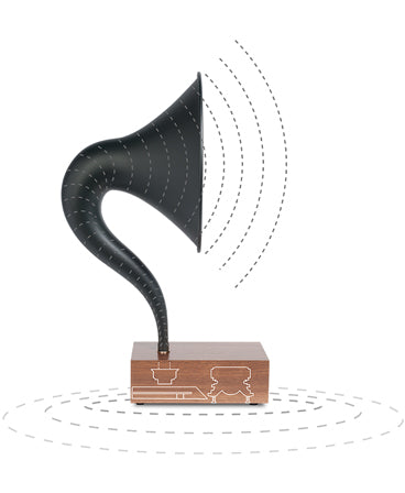 Bluetooth Gramophone 2.0 – Vintage Wireless Speaker, iPhone/Android Compatible | Feature – Full-Range-Sound, Acoustic-Diagram