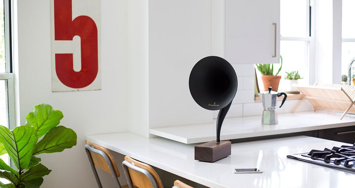 Bluetooth Gramophone 2.0 – Vintage Wireless Speaker, iPhone/Android Compatible | Gallery – Black Steel Horn, Scene-View, Kitchen