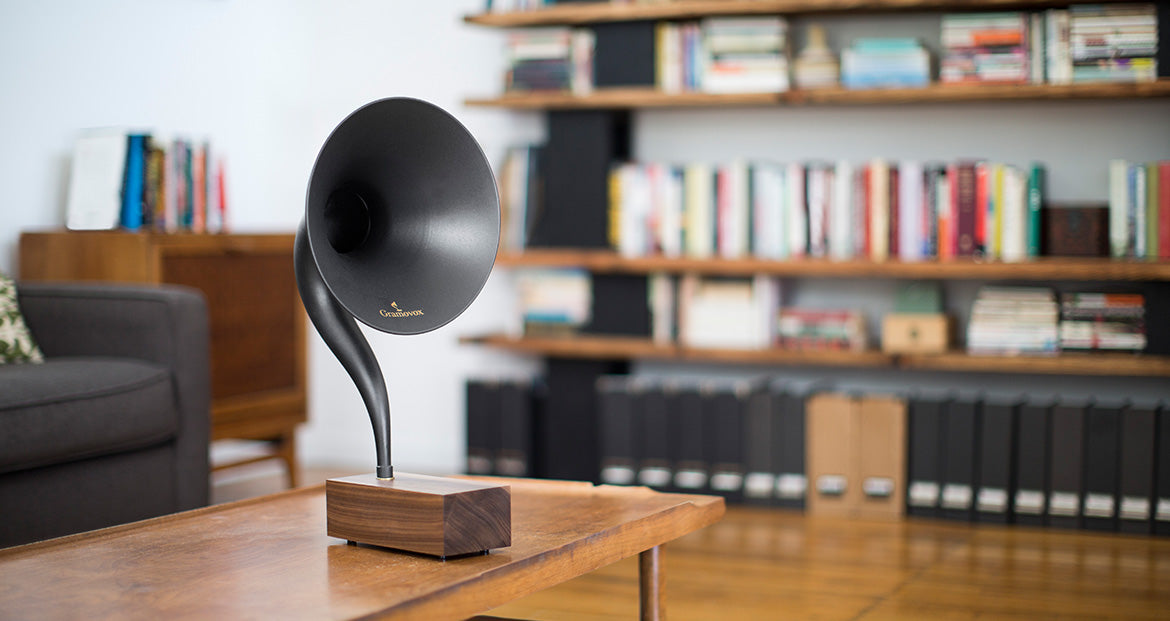 Bluetooth Gramophone 2.0 – Vintage Wireless Speaker, iPhone/Android Compatible | Gallery – Black Steel Horn, Scene-View, Coffee-Table